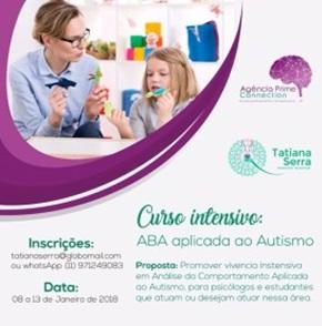 Curso presencial intensivo. Habilitando profissionais para aplicação e utilização da Análise do Comportamento Aplicada (ABA) com pessoas com Autismo